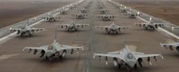 F-16 Fighting Falcons demonstrate an 'Elephant Walk' as they taxi, Kunsan Air Base, South Korea - 14 Dec 2012