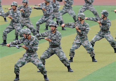 Cadet members of China's People's Liberation Army
