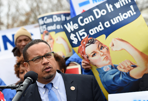 Rep. Keith Ellison (D., Minn.) leads a minimum wage protest / AP