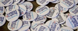 Ready for HIllary campaign buttons / AP