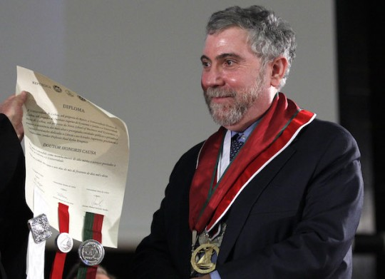 Paul Krugman wears a fancy medal. (AP)