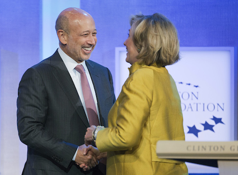 Goldman Sachs chairman and CEO Lloyd Blankfein and Hillary Clinton / AP