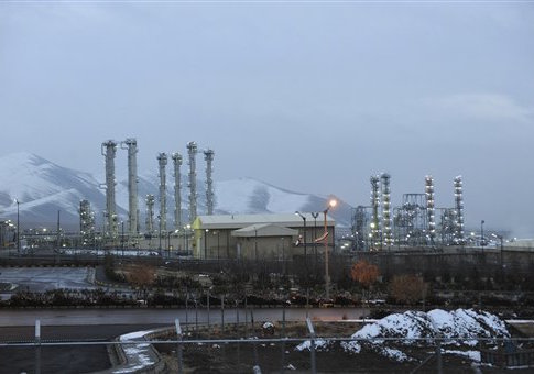 Iran's heavy water nuclear facility is backdropped by mountains near the central city of Arak, Iran