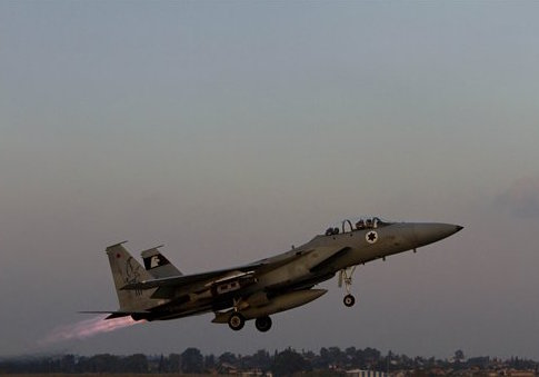 An Israeli air force jet fighter plane takes off from Tel Nof air force base