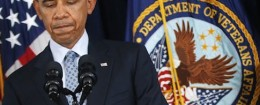 President Barack Obama makes a statement at the Department of Veterans Affairs / AP