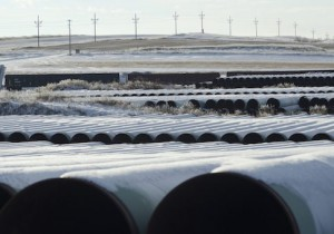 A depot used to store pipes for Transcanada Corp's planned Keystone XL oil pipeline is seen in Gascoyne, North Dakota, in this file photo taken November 14, 2014