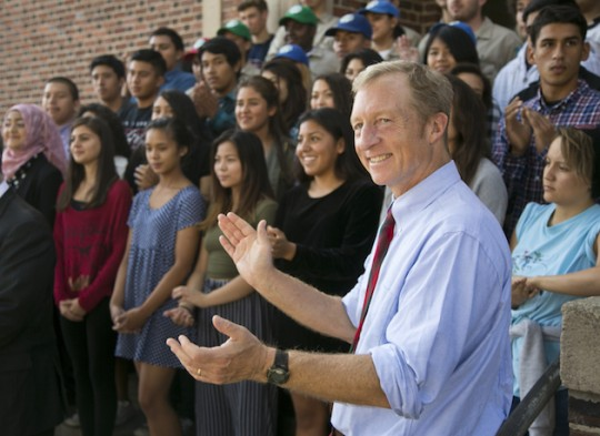 Tom Steyer gives himself a round of applause. (AP)
