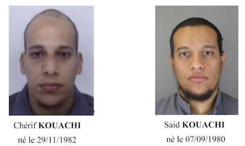 A call for witnesses released by the Paris Prefecture de Police January 8, 2015 shows the photos of two brothers Cherif Kouachi (L) and Said Kouachi, who are considered armed and dangerous, and are actively being sought in the investigation of the shooting at the Paris offices of satirical weekly newspaper Charlie Hebdo on Wednesday