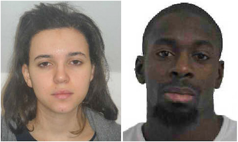 Hayat Boumeddiene (L) and Amedy Coulibaly, sought in the shooting death of a female police officer in Montrouge, near Paris