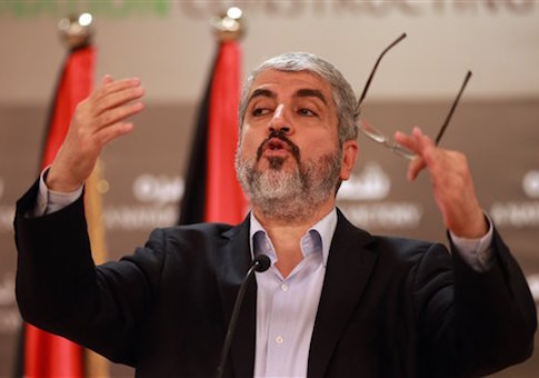 Khaled Mashaal leader of the Palestinian organization Hamas speaks during a speech held in Katara in Doha, Qatar on Thursday, Aug. 28, 2014