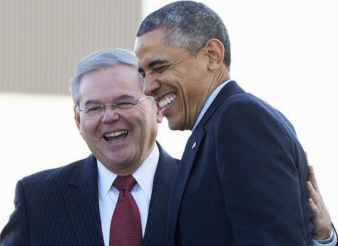 President Barack Obama greets Sen. Robert Menendez