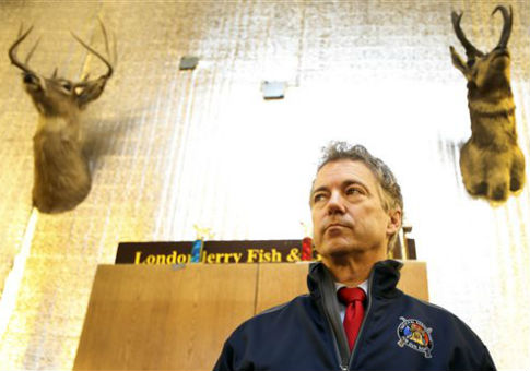Sen. Rand Paul, pictured at the Londonderry Fish and Game Club in Litchfield, NH. / AP