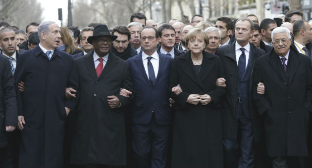 World leaders attend march in Paris / AP