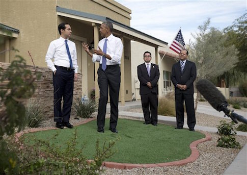 President Barack Obama and HUD Secretary Julian Castro outside a housing development in Phoenix, Arizona / AP