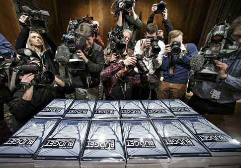 President Obama's $4 trillion budget plan handed out by the Senate Budget Committee. / AP