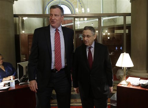 New York City Mayor Bill de Blasio and former Assembly Speaker Sheldon Silver, D-Manhattan / AP