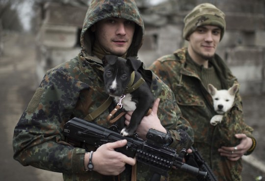 Ukrainian soldiers holding puppies. (AP)
