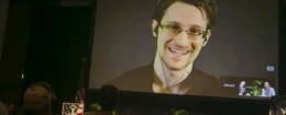 Edward Snowden addresses an ACLU-sponsored event in Hawaii / AP