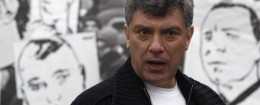 Opposition leader Boris Nemtsov attends a rally in central Moscow