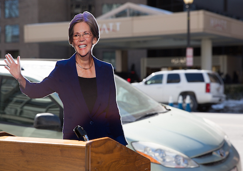 A cutout of Sen. Elizabeth Warren (D., Mass) placed outside of the DNC's 2015 Winter Meeting
