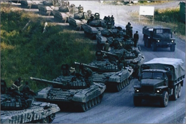 Another image of 2008 depicting Russian armored vehicles in Ossetia.
