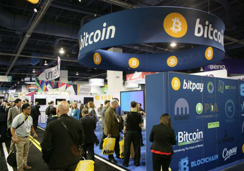 A bitcoin booth at a consumer electronics show in Las Vegas. / AP