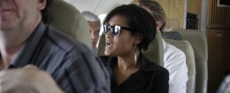 Cheryl Mills, chief of staff to Secretary of State Hillary Clinton, speaks aboard a plane after visiting Haiti. / AP