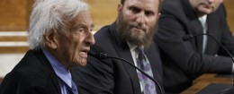 Elie Wiesel, a survivor of the Holocaust, Rabbi Shmuley Boteach, and Sen. Ted Cruz (R., Texas) / AP