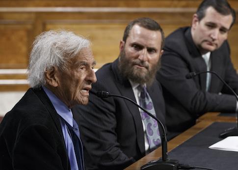 Elie Wiesel, a survivor of the Holocaust, Rabbi Shmuley Boteach, and Sen. Ted Cruz (R., Texas) / AP