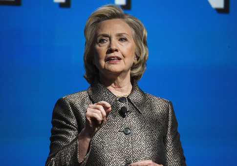 "Former U.S. Secretary of State Hillary Clinton speaks during the unveiling of ""No Ceilings"" and the ""Not There Yet: A Data Driven Analysis of Gender Equality study"" in New York March 9, 2015"