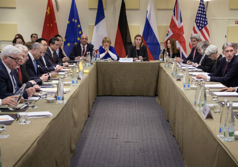 Representatives of world powers meet for nuclear talks with Iran in Lausanne, Switzerland. / AP