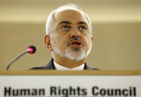Iranian Foreign Minister Mohammad Javad Zarif addresses the 28th Session of the Human Rights Council at the United Nations in Geneva March 2