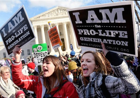 Pro-life activists attend the March For Life in front of the Supreme Court in Washington, D.C., on  Jan. 22, 2015 / AP