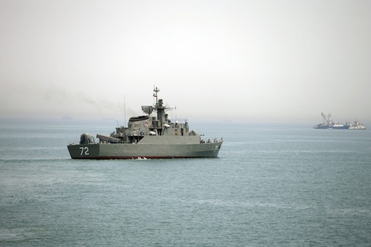 Iranian warship in the Strait of Hormuz, April 7 / AP