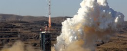 A Long March 4B (CZ-4B) carrier rocket carrying the CBERS-4 satellite lifts off at the Taiyuan Satellite Launch Center in Taiyuan city, north China's Shanxi province, Dec. 7, 2014