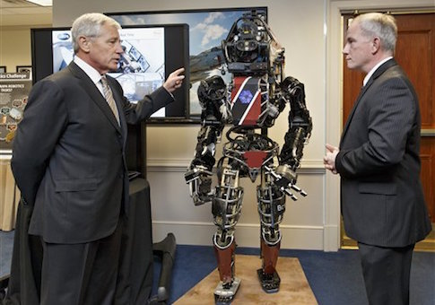 Before leaving office, Defense Secretary Chuck Hagel got a look at high-tech projects being developed by the Defense Advanced Research Projects Agency. Brad Tousley demonstrated a robot that would assist wounded warriors