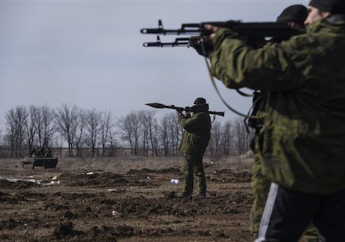 Pro-Russian rebels participate in a military training exercise