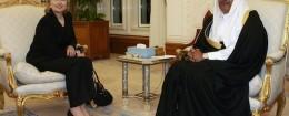 Hillary Clinton with Qatari Sheik Hamad bin Jassim bin Jabor Al Thani / AP