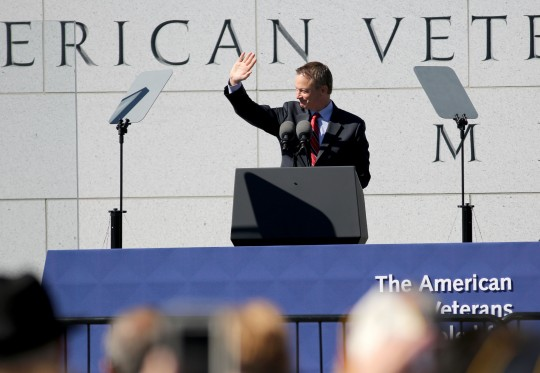 Gary Sinise speaks at the American Veterans Disabled for Life Memorial / AP