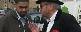 George Galloway meets with one of his supporters, who likely would have been insulted by Judah's presence in his town. (AP)