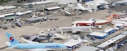 An aerial view of the Airbus A380 of Korean Airlines, at left, with other aircrafts on the first day of the 49th Paris Air Show at le Bourget airport, east of Paris, Monday June 20, 2011