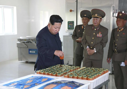North Korean leader Kim Jong Un gives field guidance at the 810 army unit's Salmon farms in this undated photo