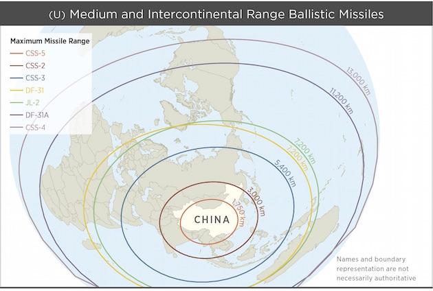 PLA missile ranges