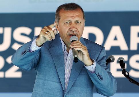 Turkey's President Tayyip Erdogan speaks during an opening ceremony in Istanbul, Turkey