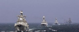 Chinese and Russian naval vessels participate in the Joint Sea-2014 naval drill outside Shanghai on the East China Sea, in this file photo taken on May 24, 2014.