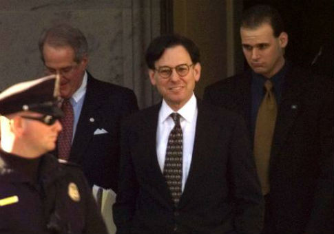 Sidney Blumenthal leaves the Capitol after being questioned during Bill Clinton's impeachment trial / AP