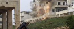 A locally made shell is launched by rebel fighters towards forces loyal to Syria's President Bashar al-Assad at the frontline in al-Breij district of Aleppo