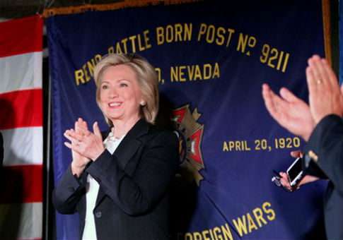 Hillary Clinton at a roundtable event with veterans in Reno, Nev. / AP