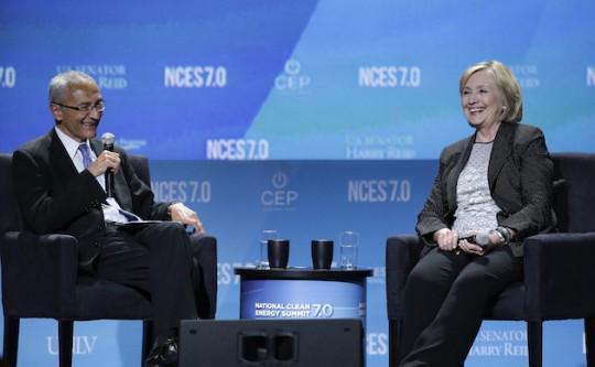 John Podesta, 66, and Hillary Clinton, 67, share a laugh. (AP)