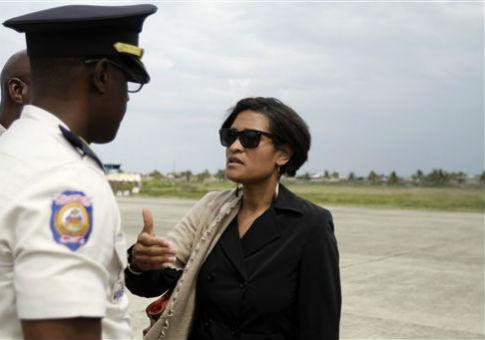 Cheryl Mills at an airport in Cap Hatien, Haiti, / AP